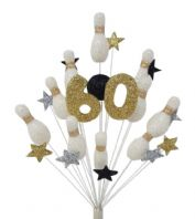 Skittles (10 pin bowling) 60th birthday cake topper decoration in black, white, silver and gold